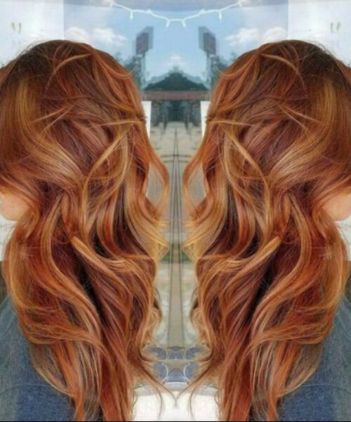 Balayage Hair Red and Blonde cabellos otoñales