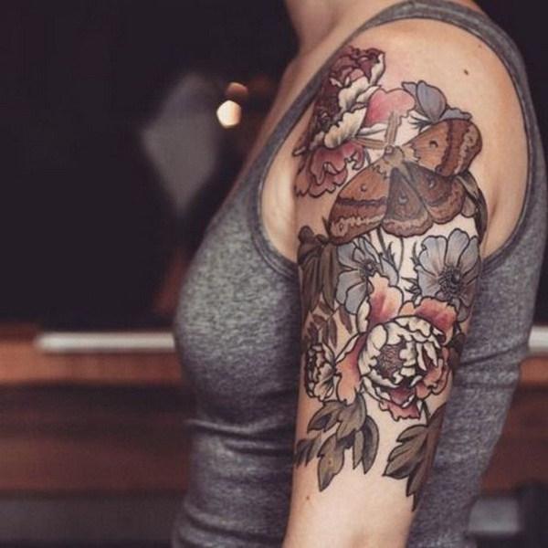Tinta Mariposa Floral Tatuaje.