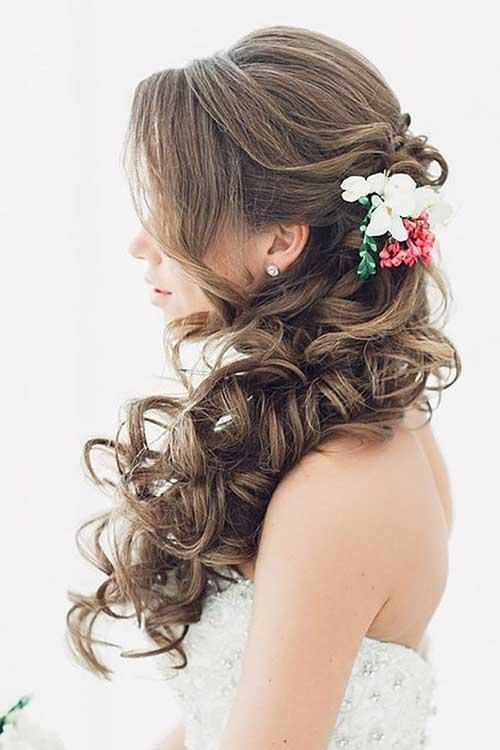 Peinados nupciales marrón oscuro largo medio arriba abajo