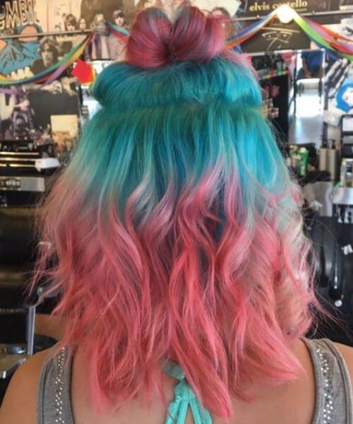 color de pelo de pelo verde azulado de sandía