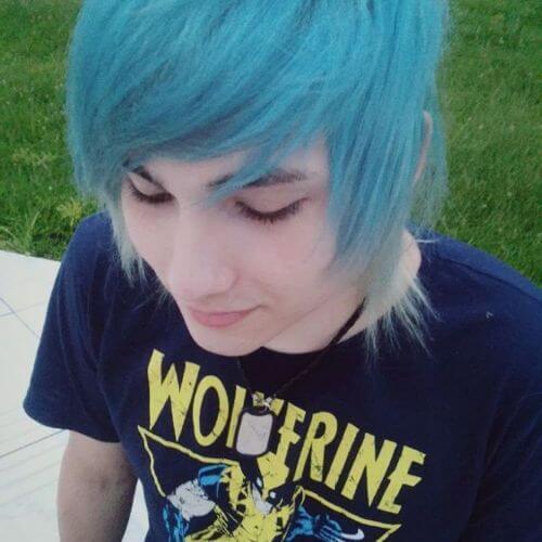 pelo azul emo para chicos