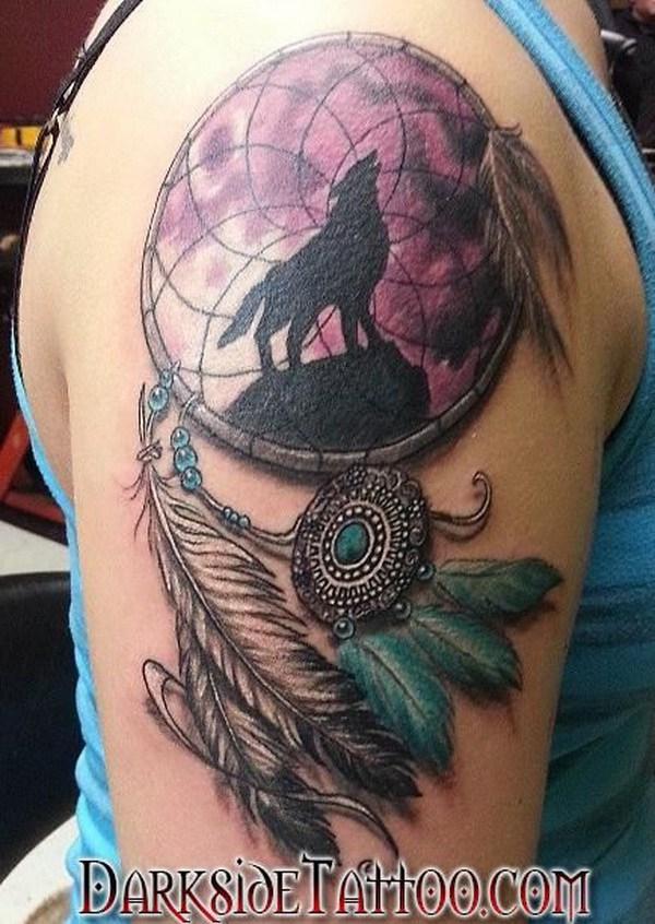 Diseño de tatuaje brazo dreamcatcher.