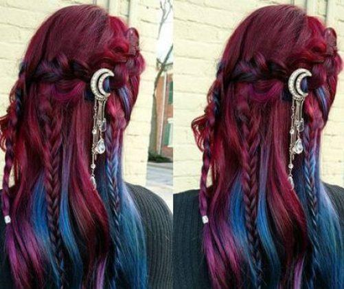 Peinados trenzados de pelo trenzado ombre púrpura a azul para cabello largo