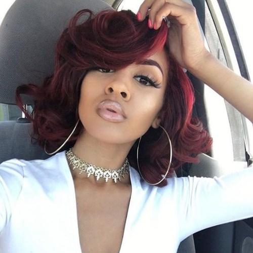 peinados bob rojo cereza para mujeres negras