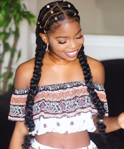 peinados de niña protectora negro