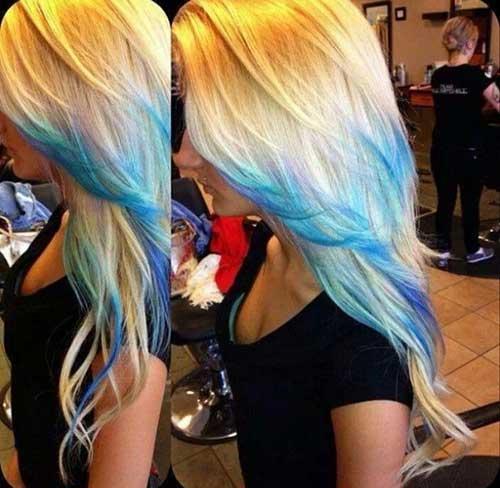 El mejor cabello rubio con puntas azules