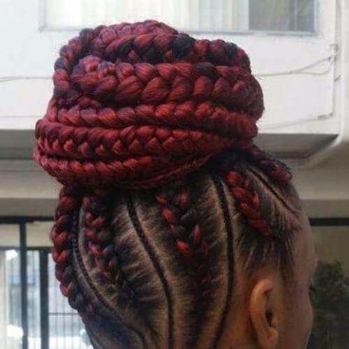 trenzas de ghana escarlata