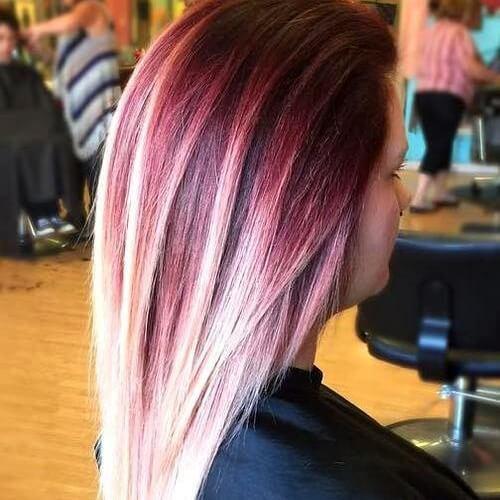 Platino único y pelo castaño rojizo Ombre