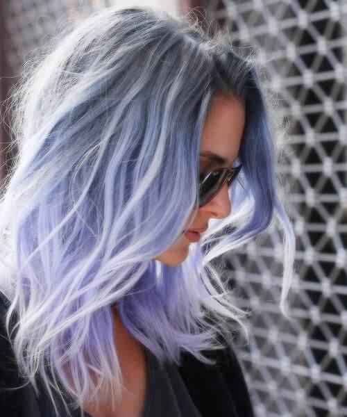 corte de pelo púrpura de la pelusa