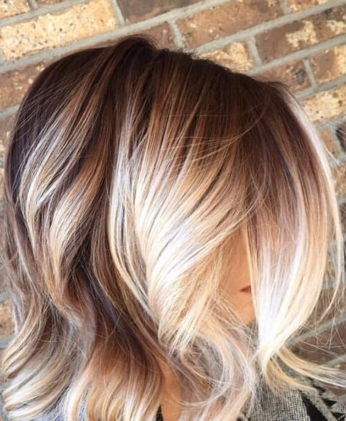 balayage pelo corto rubio de otoño a invierno