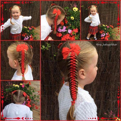 peinado trenzado de cinta de raso para niñas