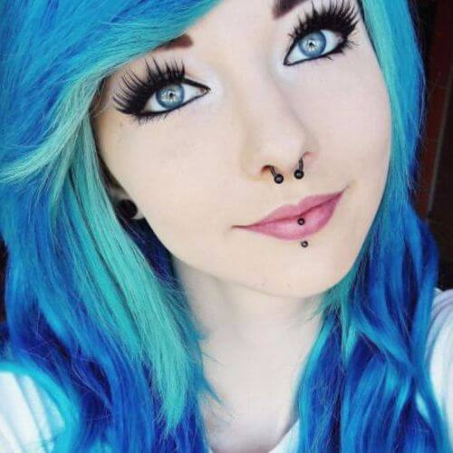 pelo azul peinados emo largos para niñas