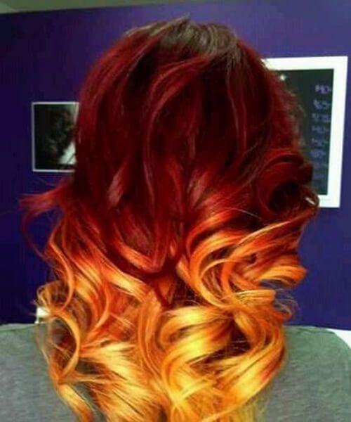 ombre rojo pelo naranja y amarillo