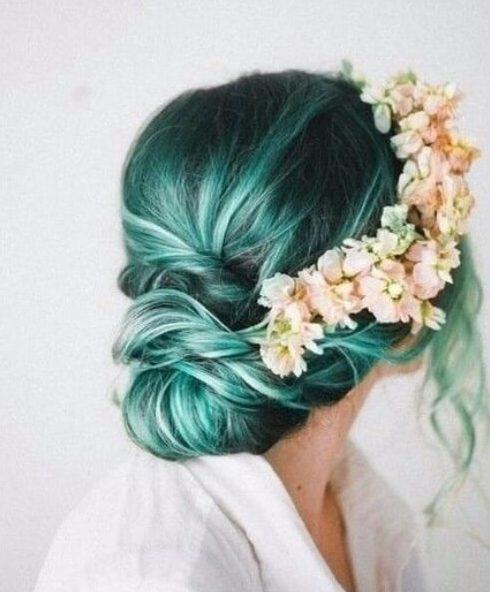 color de pelo de teal elegante y romántico