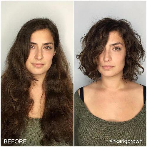 peinado fino rizado