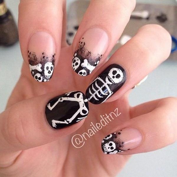 Scary Skull Halloween Nail Art. Ideas de arte de uñas de Halloween.