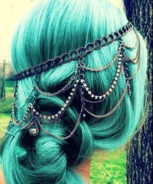 joyas para el pelo de pelo verde azulado