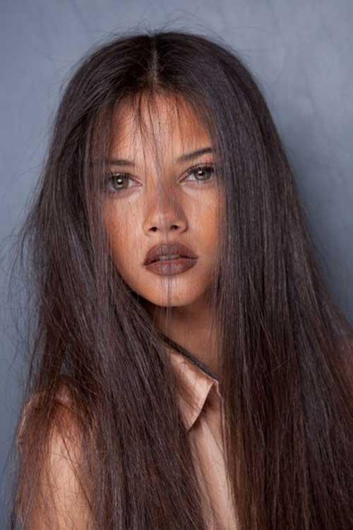 Largos cabellos castaños oscuros-25