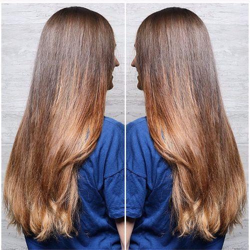color de pelo caramelo claro en cabello largo