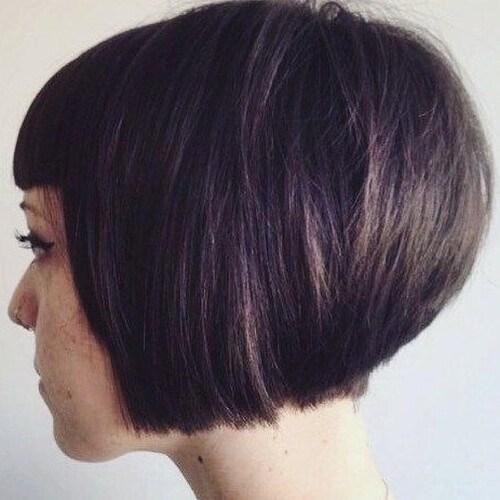 Cortes de cabello Bob apilados cortos con flequillo contundente