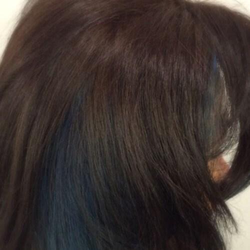aqua blue low highlights y lowlights
