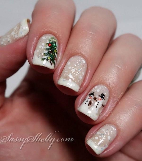 Muñeco de nieve Árbol de Navidad Uñas de vacaciones de invierno.