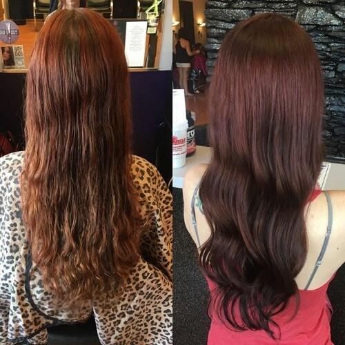 cabello castaño rojizo