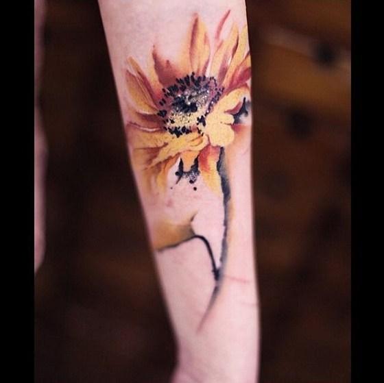Girasol Acuarela Tatuaje.