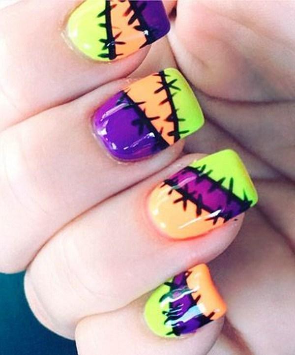 Neon Wounded Halloween Nail Art. Ideas de arte de uñas de Halloween.