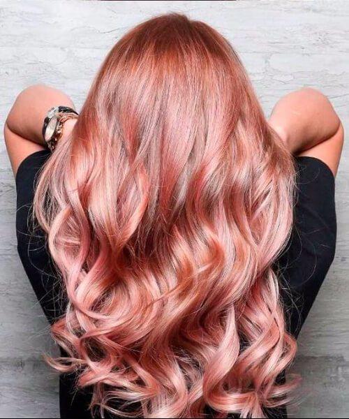 colores del cabello caído de oro rosa