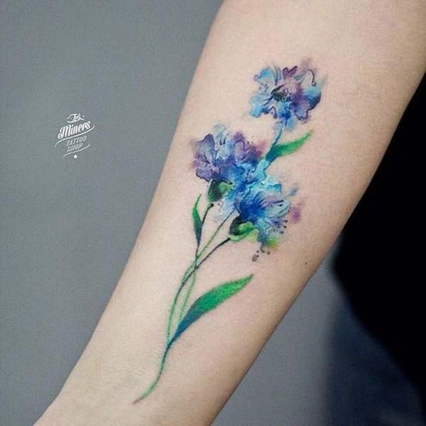Tatuaje de la flor de acuarela.