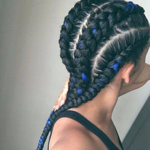 trenzas negras y azules de ghana