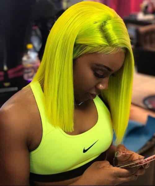 peinados de tejido amarillo neón