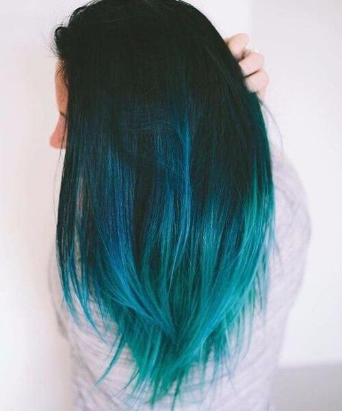 frío ombre azul teal color de pelo