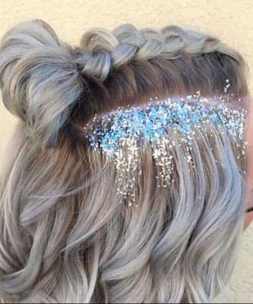 purpurina prom peinados cortos