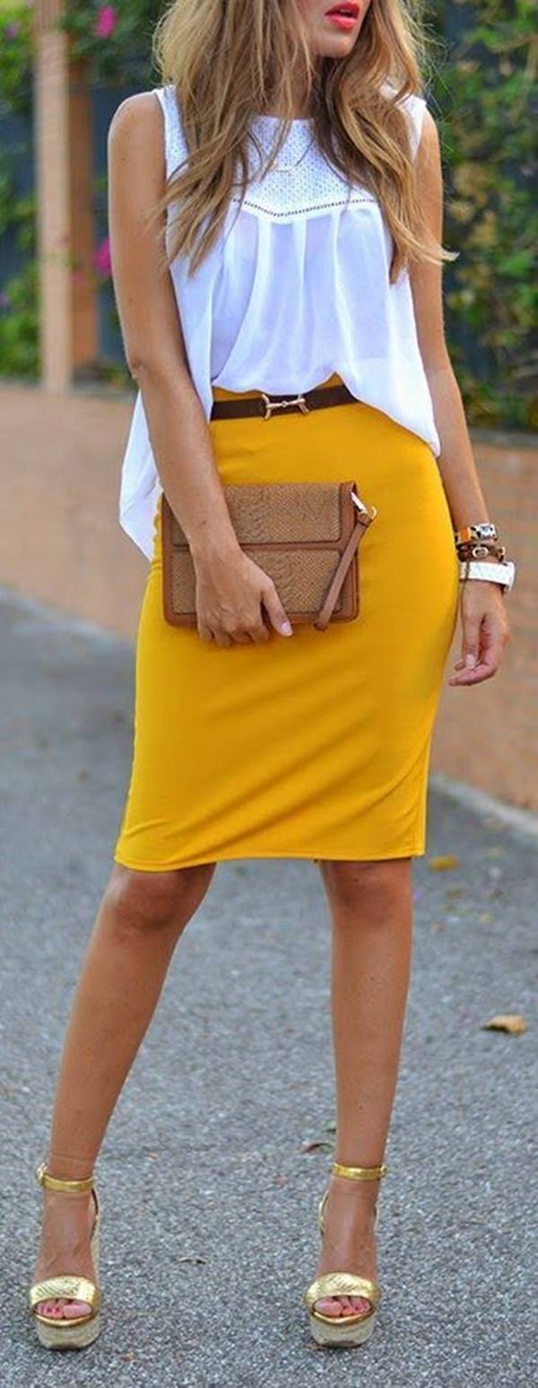 Fall Outfit: falda a media pierna con lápiz