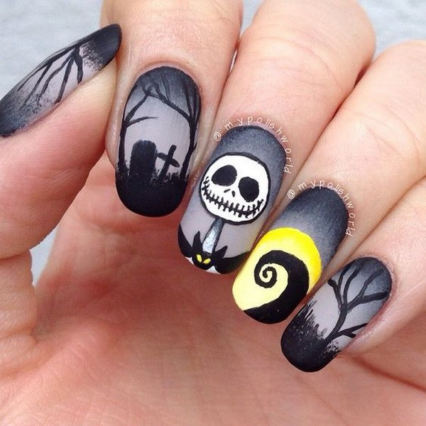 Dark Nightmare Nail Art para Halloween. Ideas de arte de uñas de Halloween.
