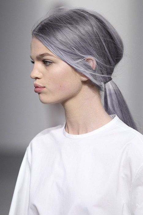 pelo gris cola de caballo baja simple