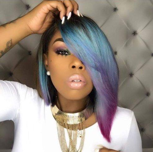 peinados unicornio bob para mujeres negras