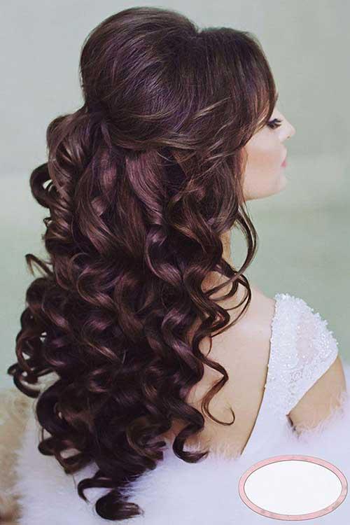 Peinados de novia rizado medio arriba y abajo