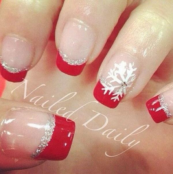 Diseños del arte del clavo de Navidad con punta de color rojo y plata.