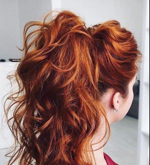 firey rojo cola de caballo pelo castaño color