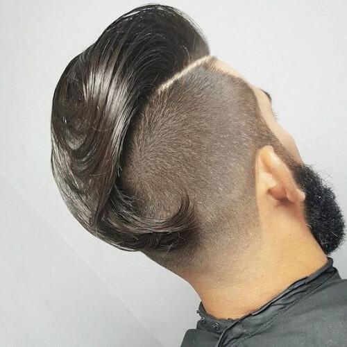 Peinado largo y barrido por detrás con socavado