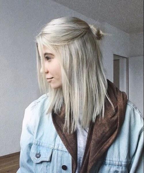 peinados de longitud rubia hombro platino