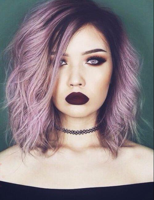 pelo púrpura pastel grunge
