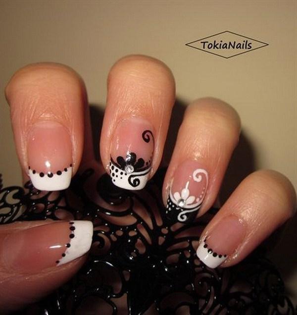 Blanco y negro francés Nail Design.
