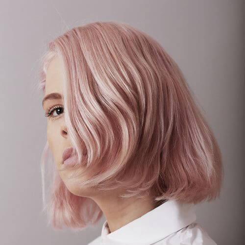 rosa pastel bob invertido