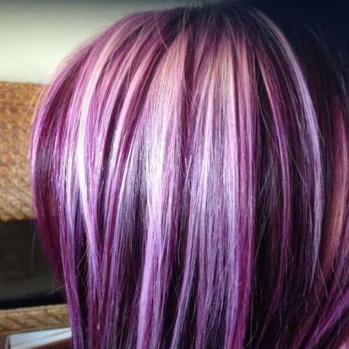 platino en púrpura altas luces y bajos