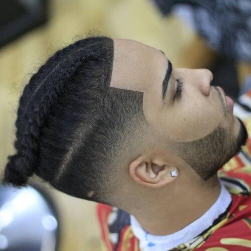Dos trenzas cónica Fade corte de pelo