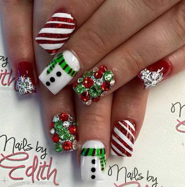 Festivo y fabuloso Nail Art de Navidad.